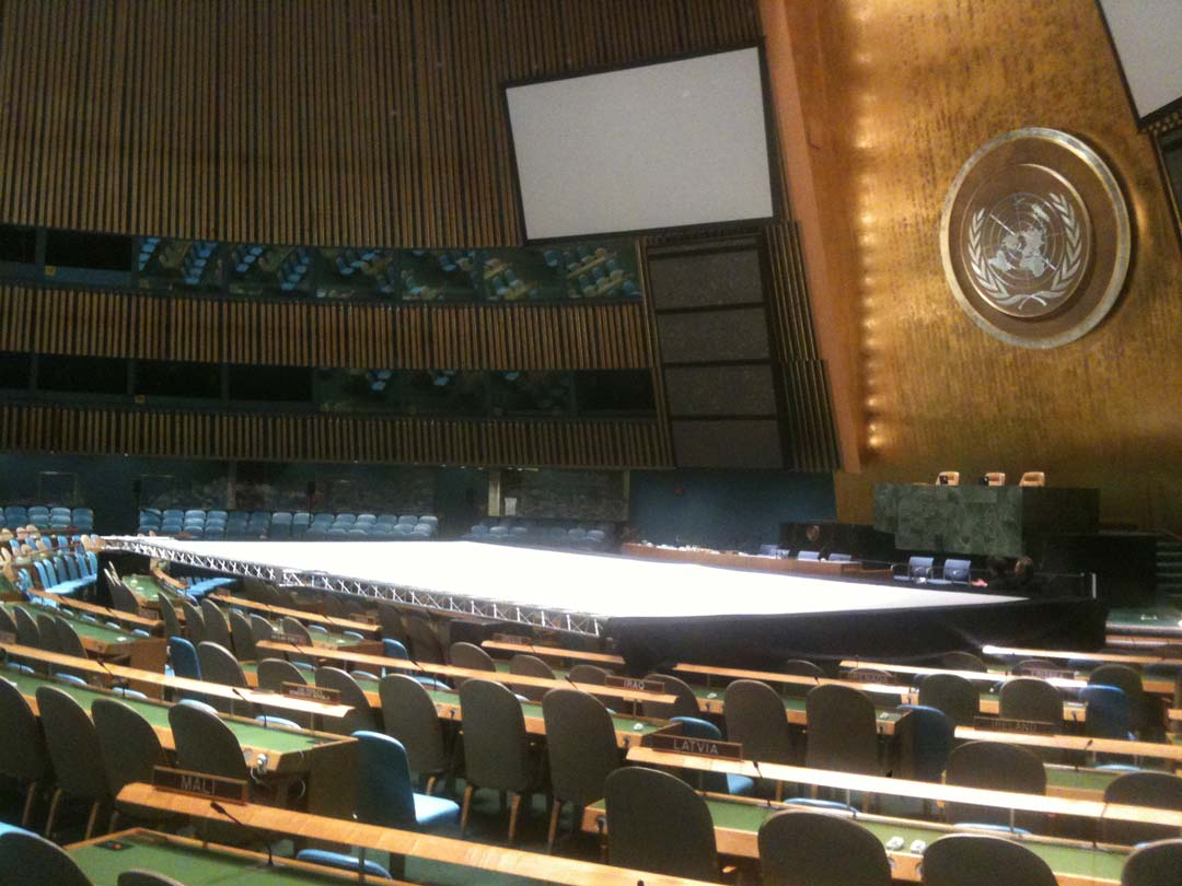 theatre screen at the United Nations being installed for event