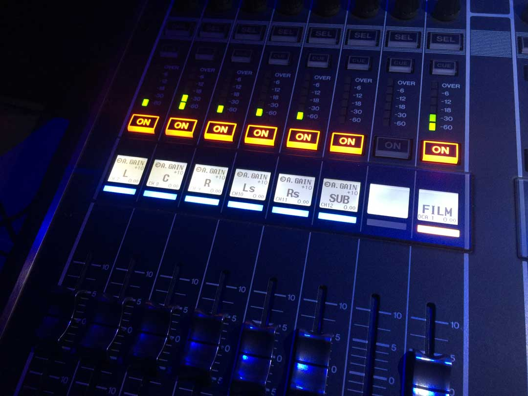 hi-tech-theatre-equipment, panel of av equipment with lights and buttons